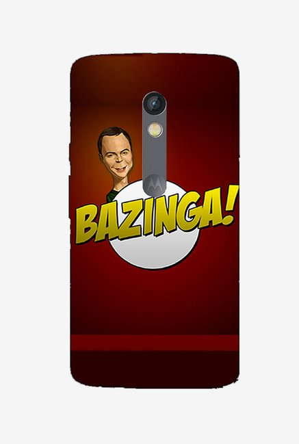 Ziddi BAZINGA Hard Back Cover for Moto X Play (Red)