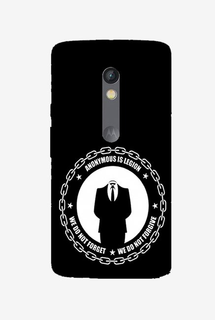 Ziddi ANONYMS Hard Back Cover for Moto X Play (Black)