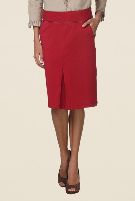 Kaaryah Red Box Pleated Straight Skirt