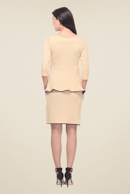 Kaaryah Beige Peplum Dress