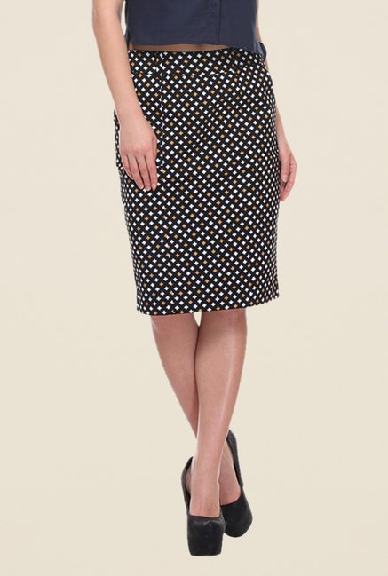 Kaaryah Black Hash Print Pencil Skirt