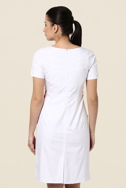 Kaaryah White Solid Dress