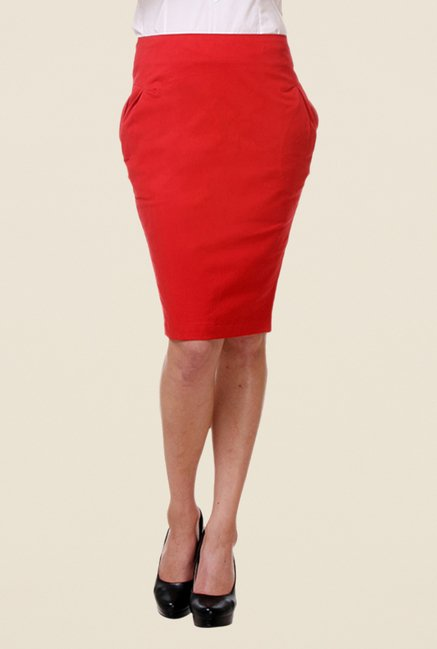 Kaaryah Red Pencil Skirt