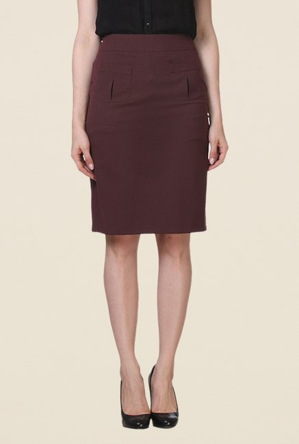 Kaaryah Maroon Pencil Skirt