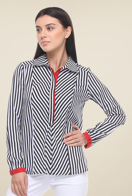 Kaaryah White & Black Striped Shirt