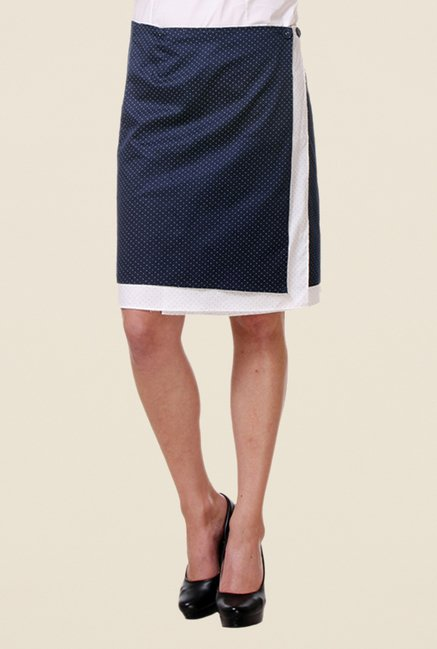 Kaaryah Navy Printed Wrap Skirt