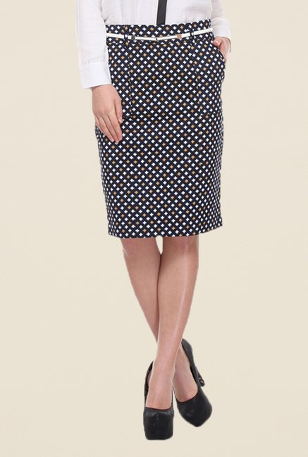 Kaaryah Navy Hash Print Pencil Skirt