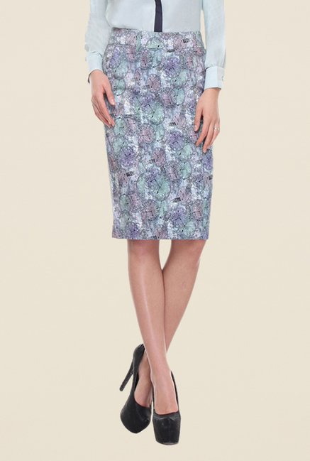 Kaaryah Blue Watch Print Skirt