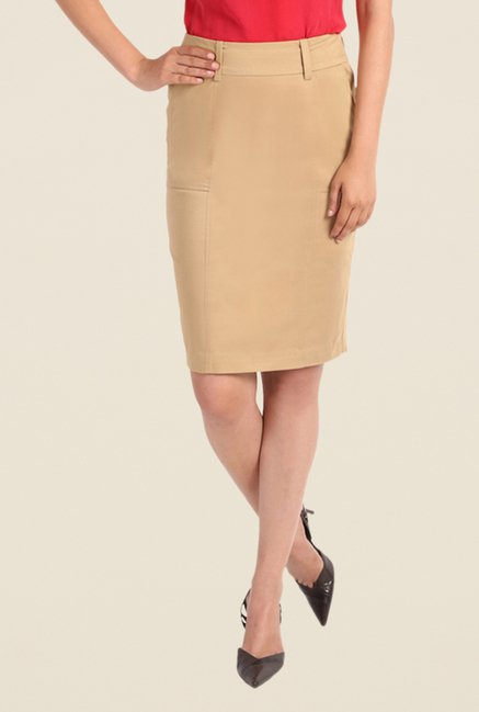Kaaryah Beige Pencil Skirt