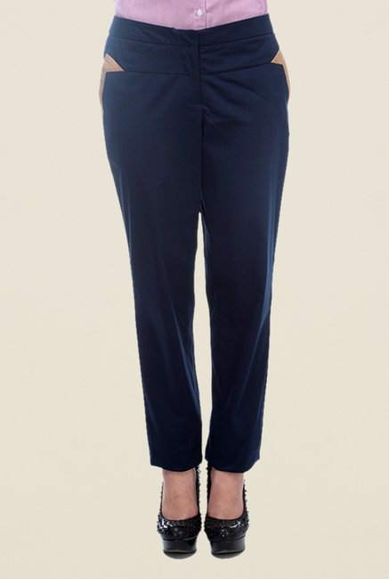 Kaaryah Navy Solid Trouser