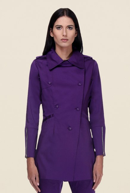 Kaaryah Purple Full Sleeves Twill Jacket