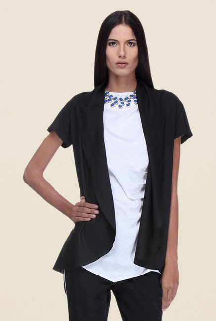 Kaaryah Black Short Sleeves Shrug