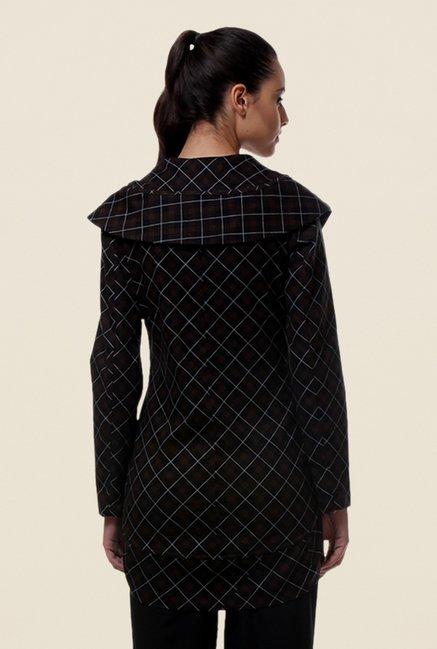 Kaaryah Black Checks Cotton Silk Jacket