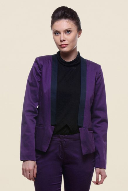 Kaaryah Purple Full Sleeves Blended Jacket
