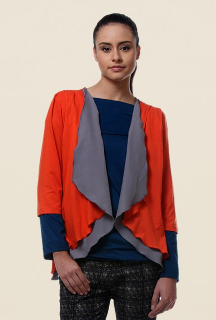 Kaaryah Orange Solid Shrug
