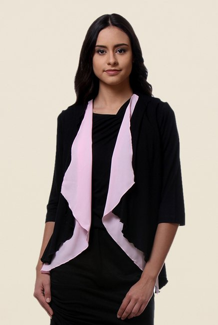 Kaaryah Black Solid Shrug