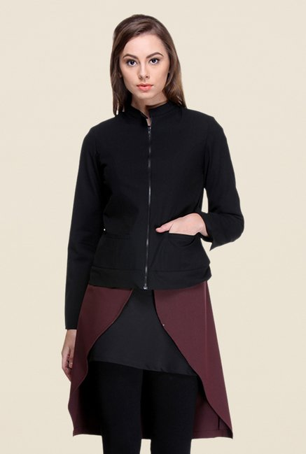 Kaaryah Black Full Sleeves Blended Regular Fit Jacket