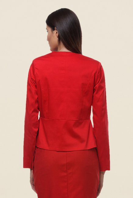 Kaaryah Red Full Sleeves Cotton Silk Regular Fit Jacket