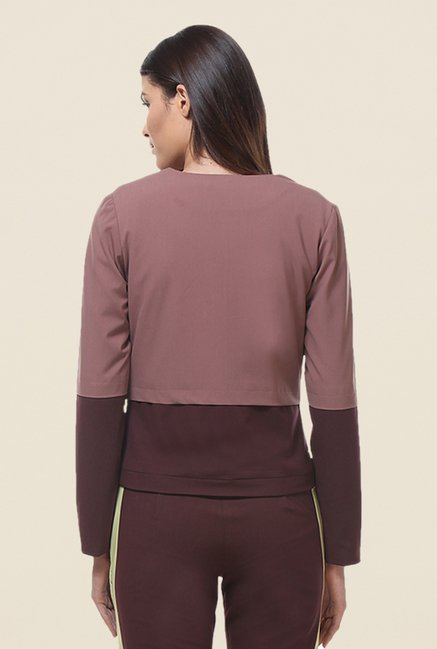 Kaaryah Brown Full Sleeves Cotton Silk Jacket