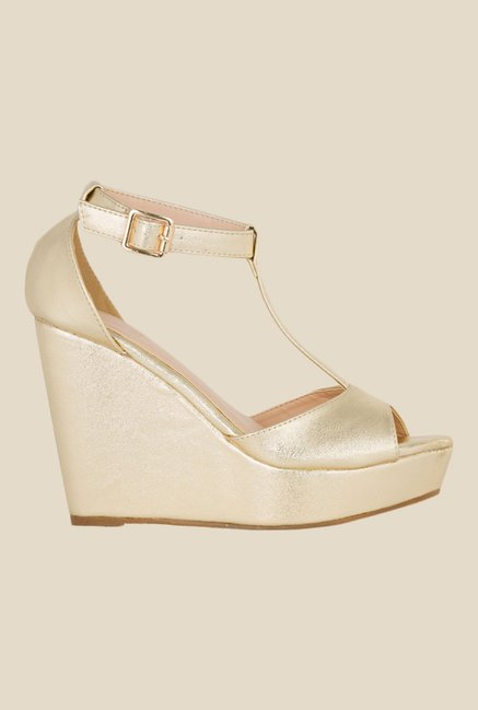 Tresmode Golden Ankle Strap Sandals