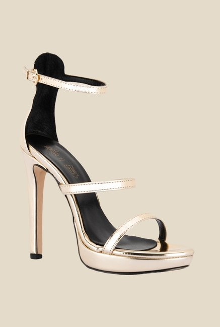 Tresmode Classy Gold Ankle Strap Sandals