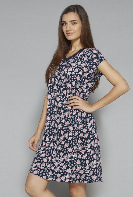 Intima by Westside Navy Floral Print Nightdress