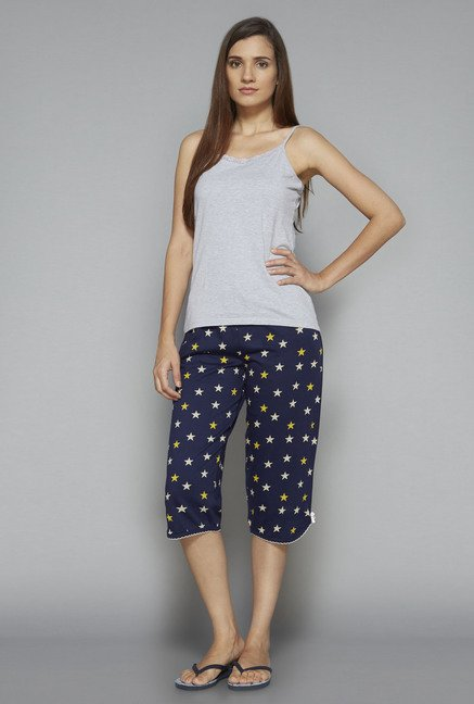 Intima by Westside Navy Printed Capri