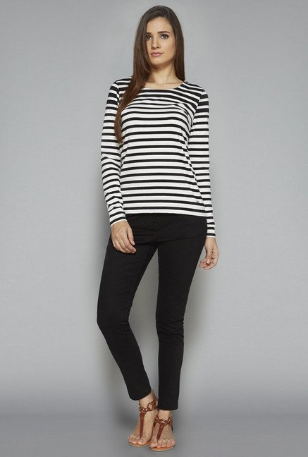 LOV by Westside Black & White Striped Top
