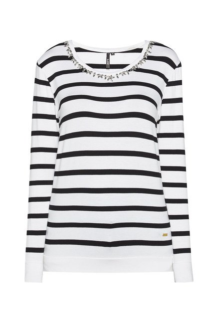 LOV by Westside White & Black Striped Top