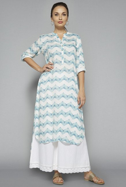 Utsa by Westside White Printed Kurta