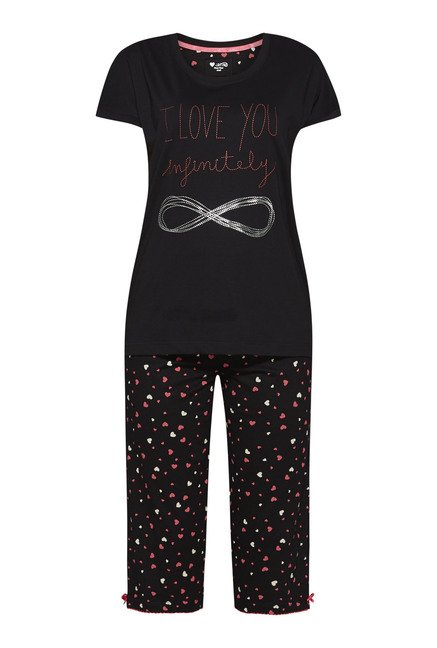 Intima by Westside Black Heart Print Capri Set