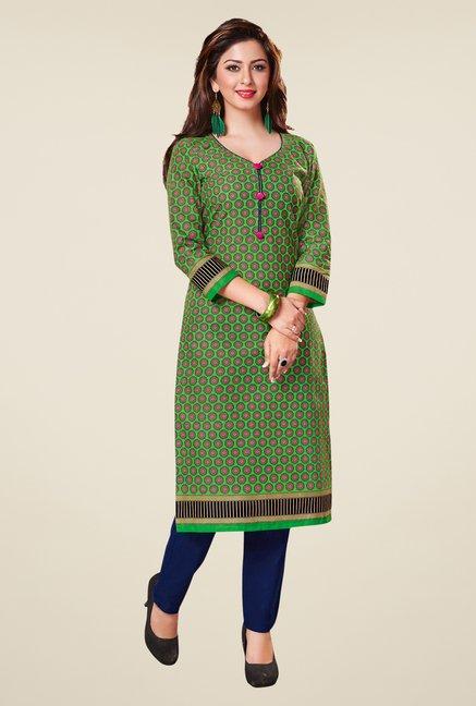 Salwar Studio Green & Blue Floral Print Unstitched Kurti