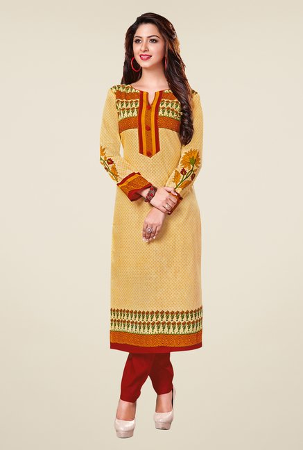 Salwar Studio Yellow & Red Floral Print Unstitched Kurti