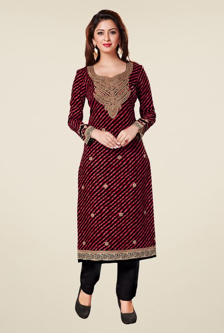 Salwar Studio Red & Black Cotton Printed Unstitched Kurti
