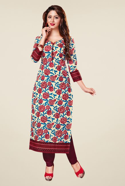 Salwar Studio Wine Red & Cream Printed Unstitched Kurti