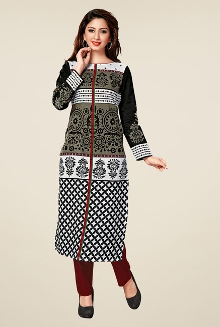 Salwar Studio Black Cotton Printed Unstitched Kurti