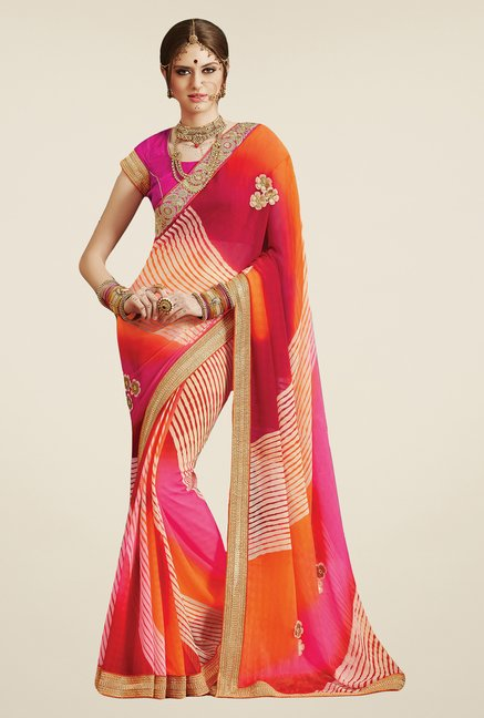 Salwar Studio Orange & Pink Georgette Bandhej Saree