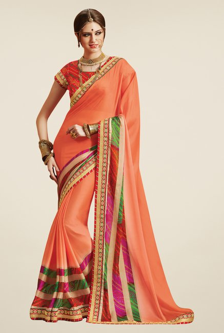 Salwar Studio Orange Georgette Bandhej Saree