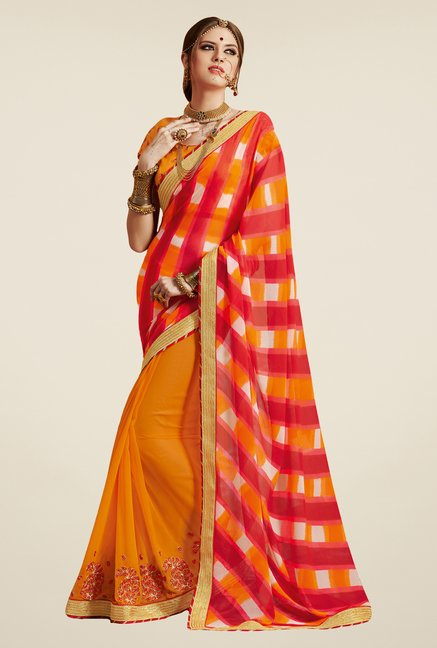 Salwar Studio Yellow & Red Georgette Bandhej Saree