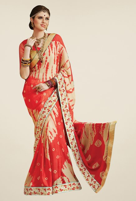Salwar Studio Orange & Cream Georgette Bandhej Saree