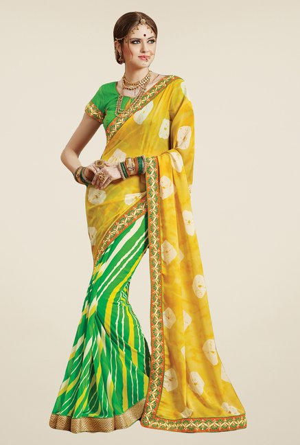Salwar Studio Green & Yellow Georgette Bandhej Saree