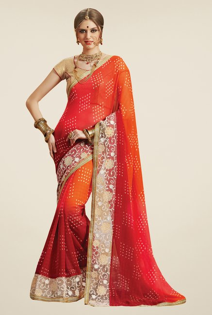 Salwar Studio Orange & Red Georgette Bandhej Saree