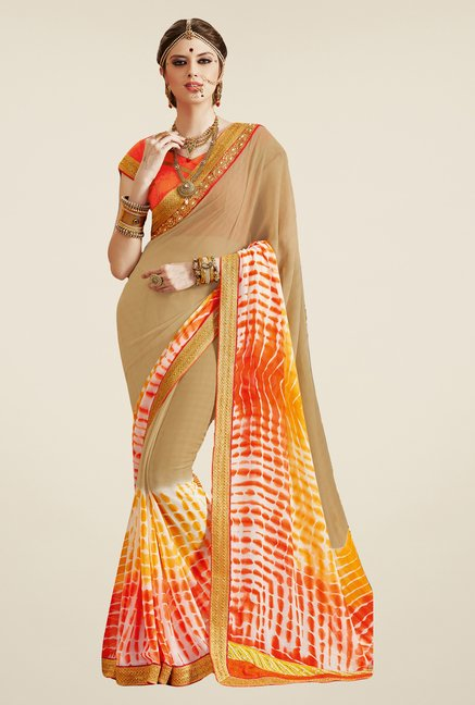 Salwar Studio Beige & Orange Georgette Bandhej Saree