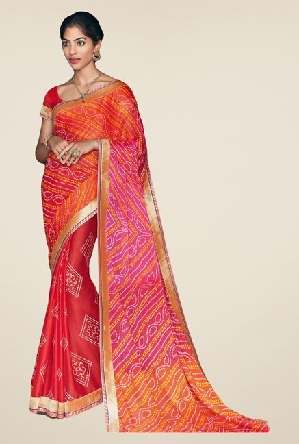 Salwar Studio Red & Orange Georgette Bandhej Saree