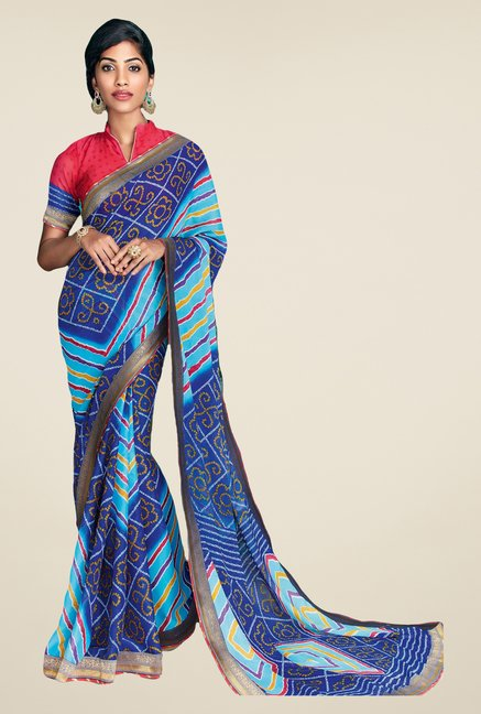 Salwar Studio Blue Georgette Bandhej Saree