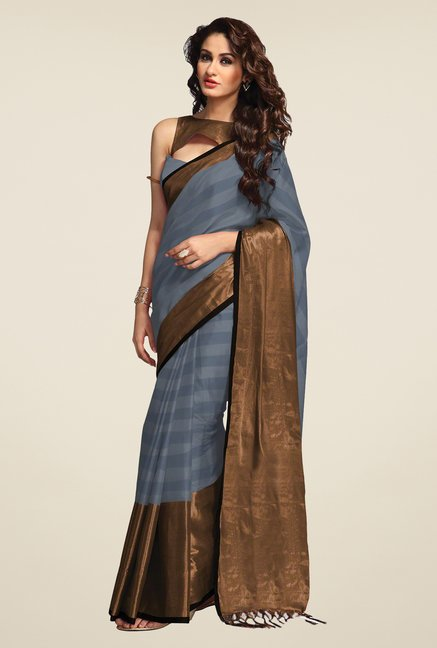 Salwar Studio Ash Grey Striped Saree