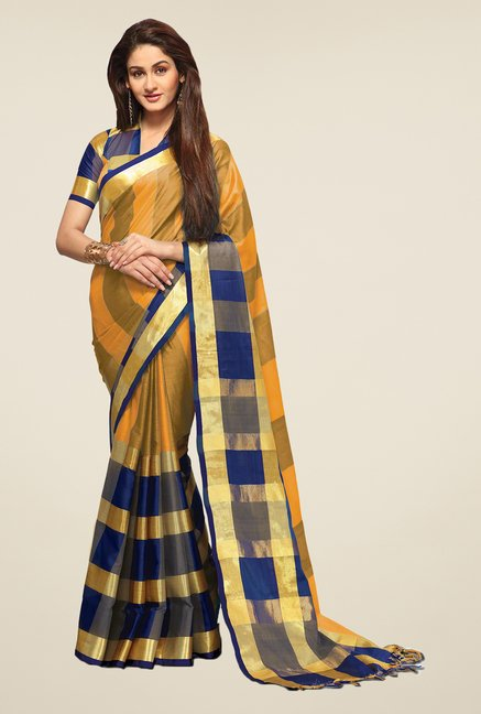 Salwar Studio Marigold & Blue Saree