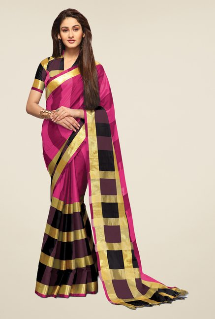 Salwar Studio Dark Pink & Black Saree