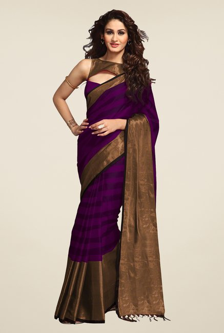 Salwar Studio Purple Striped Saree