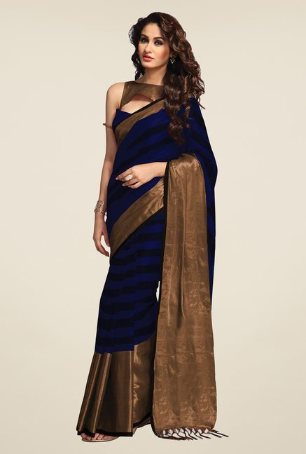 Salwar Studio Dark Blue & Black Saree